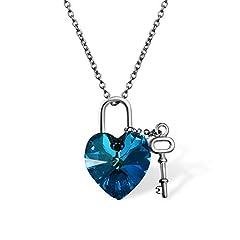 Idea Regalo - Cupimatch Collana Cristallo Swaroski Elementi Cuore Blu Ciondolo Argento 925 Chiave Donna Regalo San Valentino Natale Compleanno