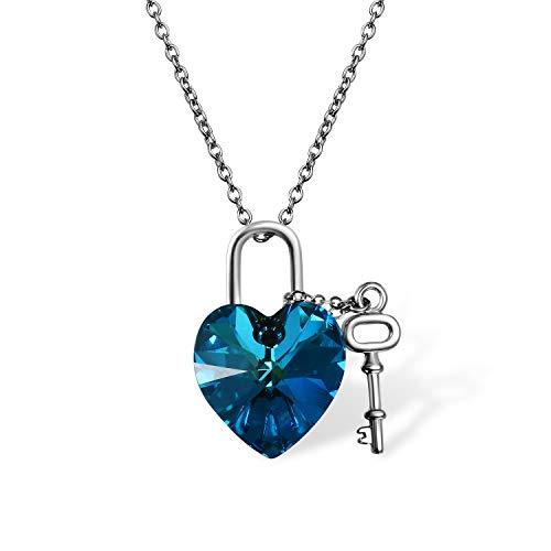 Cupimatch Herz Schloss Schlüssel Kristall Halskette Damen 925 Silber Kette Schmuck mit Swarovski Element Länge Verstellbar 45+5cm, Bermuda Blau