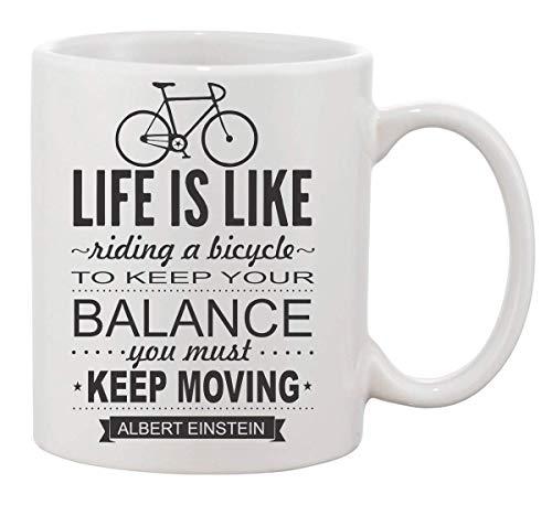 KRISSY Life is Like Riding A Bicycle to Keep Your Balance You Must Moving Coffee Mug Cup Kaffeetasse