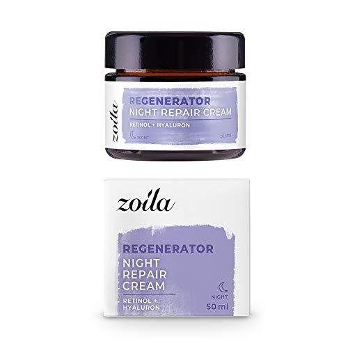Retinol Creme für Gesicht | 50ml zoila Night Repair Cream | Vegane Nachtcreme Anti Aging mit...