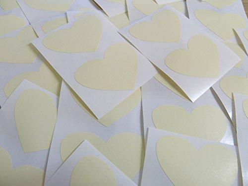 50x37mm Crema Beige Con Forma De Corazón Etiquetas, 40 auta-Adhesivo Código De Color Adhesivos, adhesivo Corazones para Manualidades y Decoración