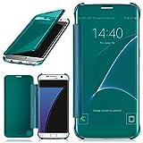 moex Samsung Galaxy S7 Edge | Hülle Transparent TPU Void Cover Dünne Schutzhülle Türkis Handyhülle für Samsung Galaxy S7 Edge Case Ultra-Slim Handy-Tasche mit Sicht-Fenster