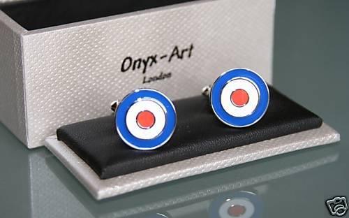 Paire de bouton de manchette Art Onyx - Raf Roundel en cadeau Box CK187