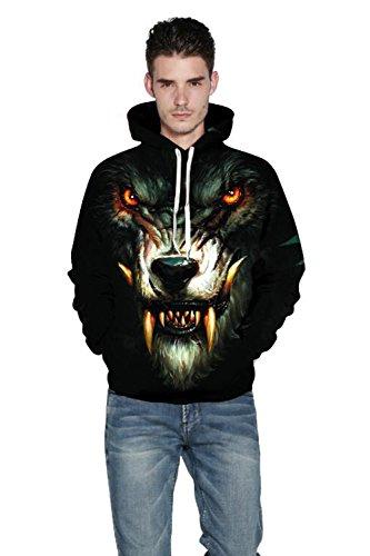 ALICECOCO Kapuzenpulli Herren/Damen 3D Druck Pullover Sweatjacke Cartoon Skull/Wolf Hoodie Weihnachten Langarm Slim Fit Sweatshirt mit Taschen Unisex Wolf B
