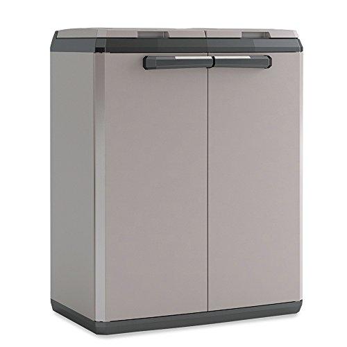 *Recyclingschrank für 2X 110-Liter-Müllsäcke, aus Kunststoff, Farbe grau/schwarz, BxTxH 680 x 390 x 850 mm*