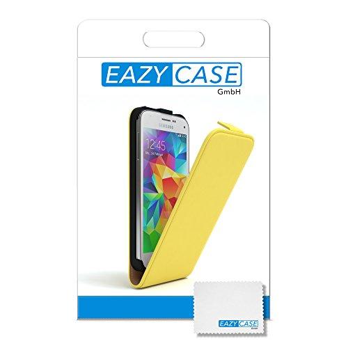 Samsung Galaxy S5 Mini Hülle - EAZY CASE Premium Flip Case Handyhülle - Schutzhülle aus Leder zum Aufklappen in Pink Gelb
