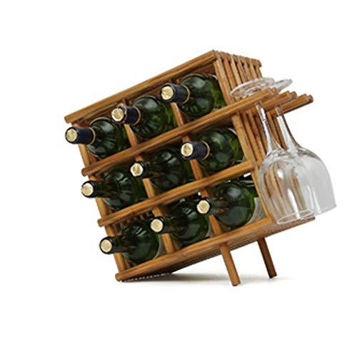 Weinregale Quadratisches Bambus Arbeitsplatte - Desktop-Weinflaschen-Lagertank 9 Flaschen 3 Weingläser-Gestell, hängender Becherhalter - Freistehende, perfekte Bar, Weinkeller, Keller.
