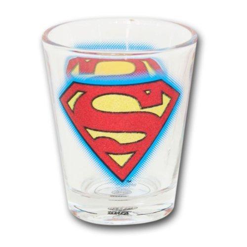 DC COMICS SUPERMAN GLITTER LOGO SHOT GLASS by Funky (Superman Shot Glass)
