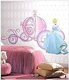 #8: Himani Decors Cute Princess Cinderella with Pumpkin Wagon Barbie Disney Cartoon PVC Vinyl Wall Sticker for Kids Room Wall Decal (110 cm X 85 cm)