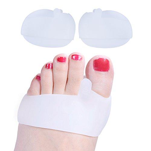 Welnove Silicona Separador Dedos y Almohadillas de Zapatos, Antepié Metatarso Cojín Bola de Pie para Alivio Juanete del Dolor, Callos, Rub-1 Par Protectores de Dedos del Pie