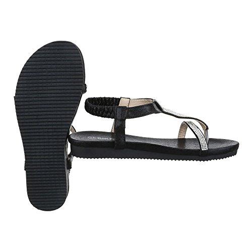 Zehentrenner Damenschuhe Peep-Toe Zehentrenner Ital-Design Sandalen / Sandaletten Schwarz