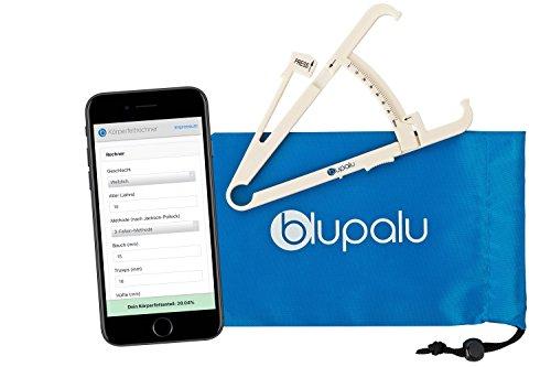 blupalu I Körperfettmessgerät I Körperfettzange I Caliper zum Messen von Körperfett I mit Web-App Körperfett-Rechner