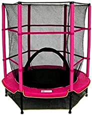 Trampoline, Kids Outdoor Trampoline Jump Bed With Safety Enclosure Exercise Fitness Equipment, PINK, Size: 140