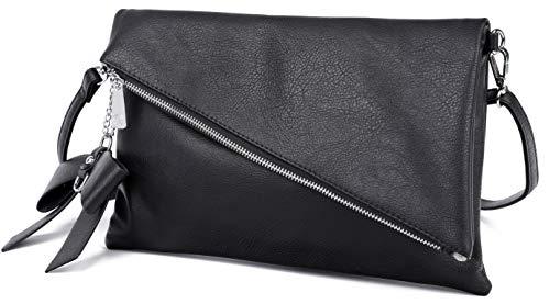 Løkke® Damen Clutch Schwarz | elegante Abendtasche | 2-in-1 Kleine Handtasche | Schwarze Clutch | Damen Umhängetasche | Schultertasche abnehmbarer Gurt | inkl. Schleife