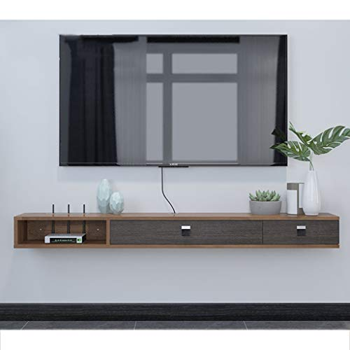 KTYXDE Wandmontiertes TV-Rack-Regal Media Entertainment-Konsole mit 3 Schubladen und Wohnmöbeln schwebende Regale (Color : Gray+Brown, Size : 120cm) -