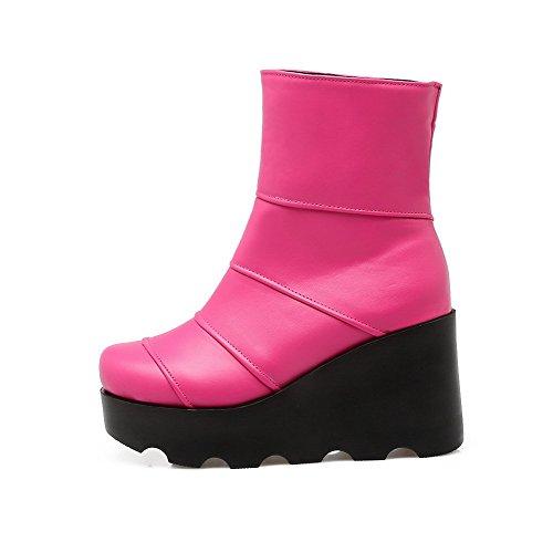 AllhqFashion Damen Ziehen auf Rund Zehe Hoher Absatz Niedrig-Spitze Stiefel, Pink, 40