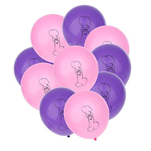 Sharplace Junggesellinnenabschied Rosa + Lila Luftballons, Helium Latex Ballons, Willy Luftballons, für Hen Party 10 Stück