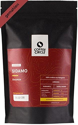 Coffee Circle - Premium Espresso - Sidamo – Kräftiger gemahlener Kaffee aus dem Hochland Äthiopiens - fairer & direkter Handel - 100% Arabica - frisch & schonend geröstet – 350g - Röstung Dunkle Bio Kaffee-bohnen