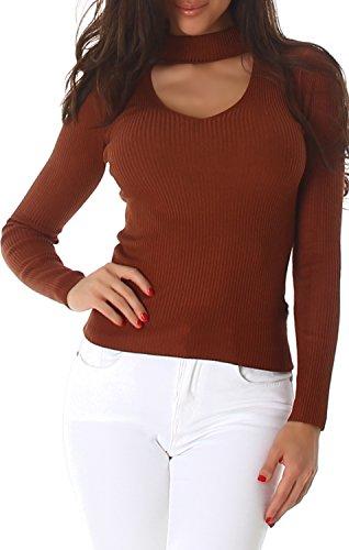 Voyelles Pullover Shirt Pulli Sweater Sweatshirt Rollkragen V-Ausschnitt Langarm Uni Rippstrick 36,38,40 Braun -