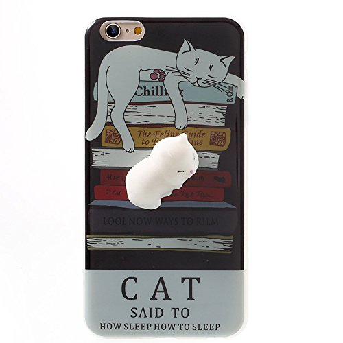Finger Decompression phone case ,3D Soft Silicone Pinch Squishy Cat TPU Protective Back Cartoon Animal Apple phone Case for iphone 6/6S(4.7-inch) (Lazy Seal) Lazy Cat