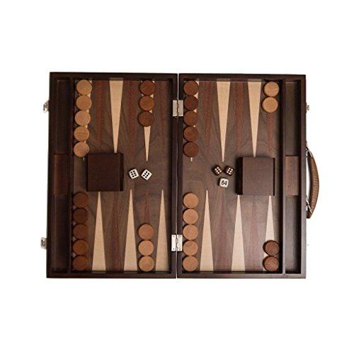 Backgammon Koffer, Intarsien Arbeit, Spielsteinablage, Holzwürfelbecher, Holz, 38 cm, medium