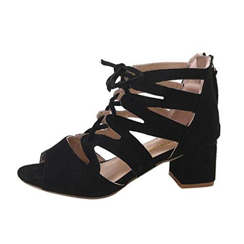 VJGOAL Damen Sandalen, Damen Mode Sandalen Ankle Platz Heels Block Party Open Toe Zip Sommer Schuhe Frau Geschenk (41 EU, Schwarz)