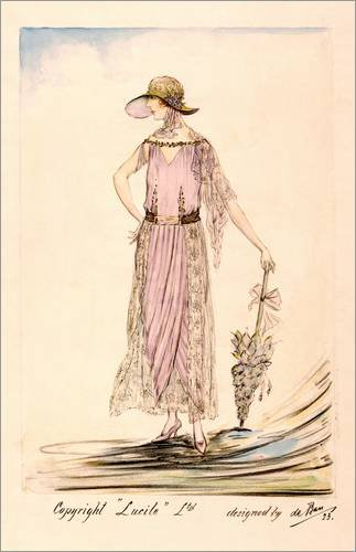 Leinwandbild 80 x 120 cm: A day dress, 1923 von Bridgeman Images - fertiges Wandbild, Bild auf Keilrahmen, Fertigbild auf echter Leinwand, (Kleid Flapper Echte)