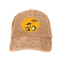Xunulyn Classic Unisex Baseball Cap Adjustable Hedgehog Holding Umbrella Over Another Hedgehog rain Hand dr Sand Color