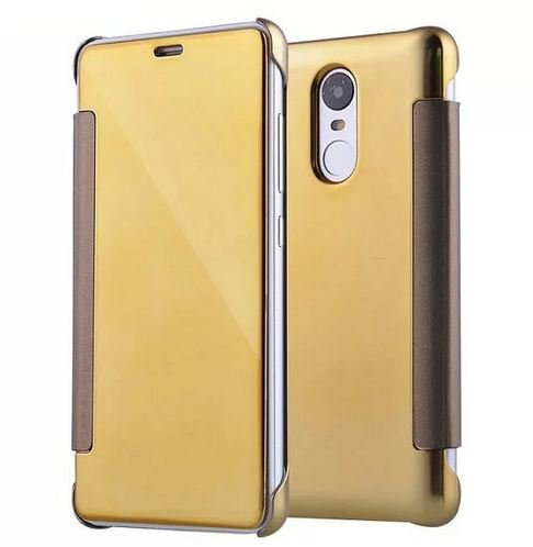 AE (TM) REDMI NOTE 3 Fashion Luxury Glossy Mirror Clear View Smart Date/Time [Hyperbolic Mirror] Flip Case Cover for XIAOMI REDMI NOTE 3 (GOLD)