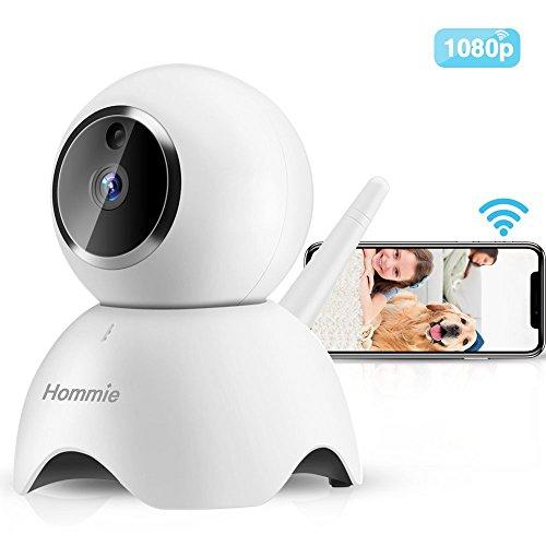 Hommie 1080P WLAN IP Kamera, Full HD Überwachungskamera mit Nachtsicht, Bewegungserkennung, Zwei-Wege Audio,Sicherheitskamera Home Indoor-Kamera für Haustier/Baby Monitor