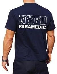 Feuer1 Tee-shirt imprimé pompiers de New York inscription PARAMEDIC emblème croix de Malte sur la poitrine et bâton d'Asclépios au milieu