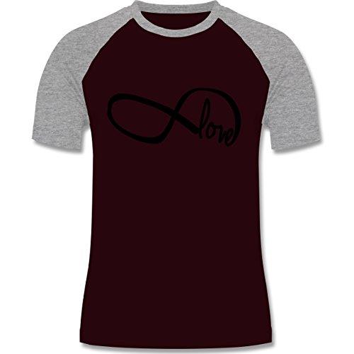 Statement Shirts - Forever Love - zweifarbiges Baseballshirt für Männer Burgundrot/Grau meliert