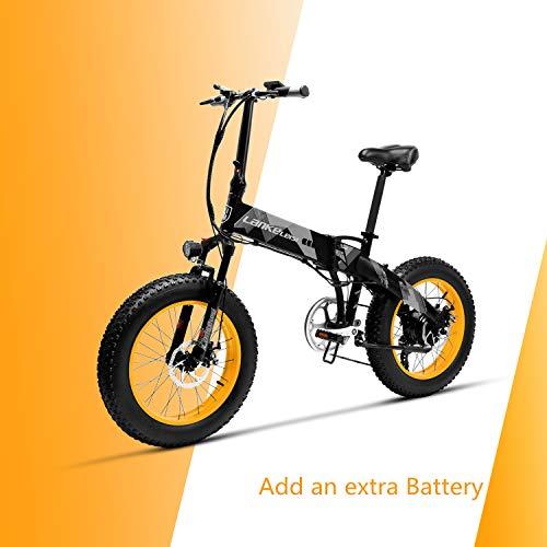 LANKELEISI X2000 20 × 4.0 Neumático Grande 48V 1000W 12.8AH Marco de aleación de Aluminio neumático Gordo Tire de la Bicicleta eléctrica Plegable para montaña/Playa/Nieve (Amarillo + 1 batería Extra)