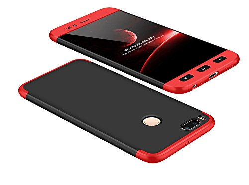 2ndSpring Xiaomi Mi A1 Funda, Funda Xiaomi Mi 5X 360 Grados Integral para Ambas Caras + Cristal Templado, Luxury 3 in 1 PC Hard Skin Carcasa Case Cover para Xiaomi Mi A1 / Mi 5X Rojo Negro