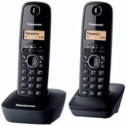 Panasonic KX-TG1612FRH Téléphone Duo sans fil DECT sans répondeur Noir