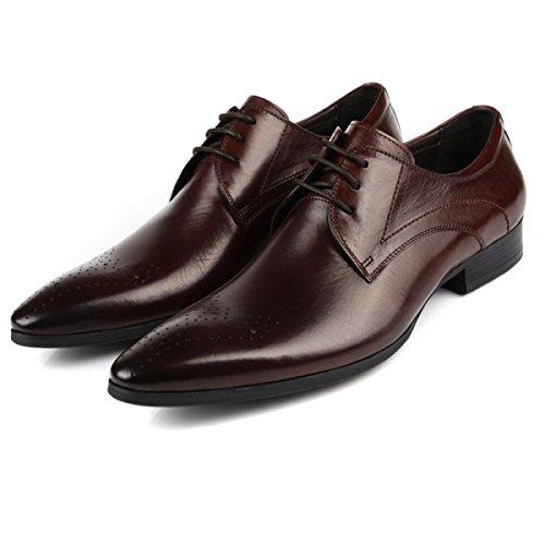 GRRONG Chaussures En Cuir Pour Hommes Costumes D'affaires Pointe En Cuir En Cuir Dentelle Faible Aide brown