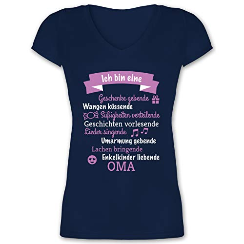 Geburtstag - Ich Bin eine Oma! - S - Dunkelblau - XO1525 - Damen T-Shirt mit V-Ausschnitt -