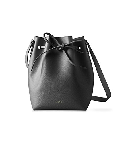 Melkco Fashion Purden borsa secchiello in Cross stile in vera pelle (nero)