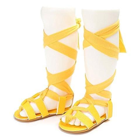 BéBé Chaussures ,OverDose BéBé Filles Mode Sandales à Gladiateur Calceus Bandage Cross-Tied Chaussures Sole Bambin Lit De BéBé Prewalker Sandales (12-18 Mois, Jaune)
