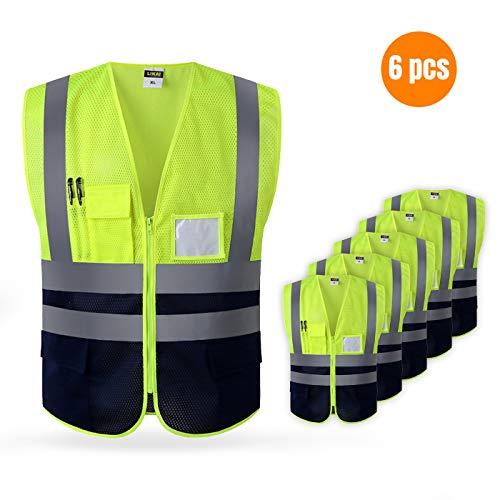 LARNMERN Gilet de sécurité Jaune et Orange Taille Petit & Sangle (XL-Petite, 6P Maille Jaune (Petite Taille))