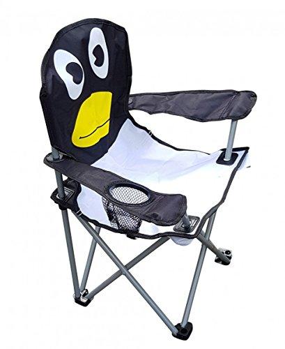 Fachhandel Plus Kinder-Faltarmlehnstuhl mit Getränkehalter Din EN71 Kinderstuhl Campingstuhl Gartenstuhl Angelstuhl Strandstuhl Verschiedene lustige Motive wählbar, Motiv:Pinguin