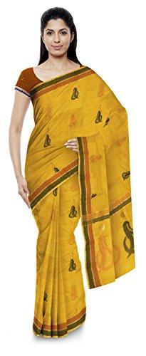 Kota Doria Sarees Women's Kota Doria Handloom Cotton Silk Saree With Blouse Piece (Yellow)
