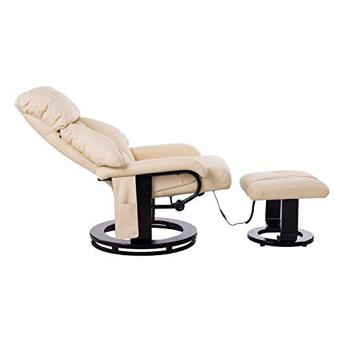 Homcom Massagesessel 700-008CW mit Heizfunktion inkl. Hocker Creme - 3