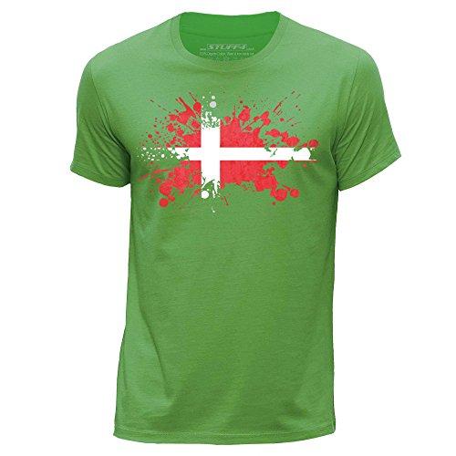 STUFF4 Herren/groß (L)/Grün/Rundhals T-Shirt/Dänemark/Dänische Flagge Splat (Flagge Dänische)