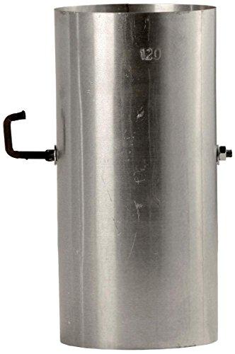 Bertrams 032010 Ofenrohr 25cm mit Drosselklappe FAL - Stahlblech feueraluminiert, silber, durchmesser 120mm