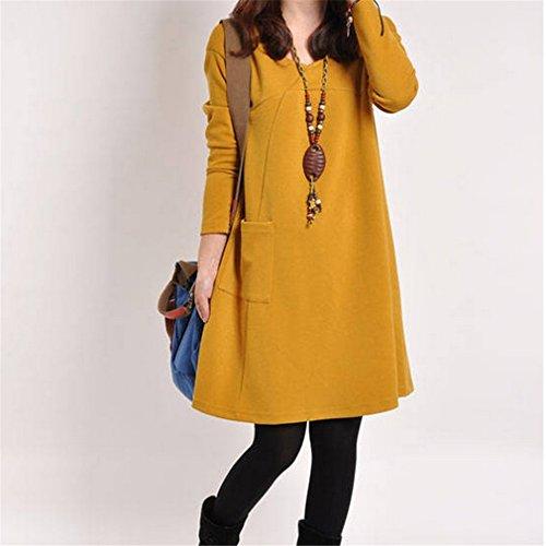 Preisvergleich Produktbild Yinew Groß Größe Frauen Lose Normallack Langarm Kleid Herbst Damen Frauen Mädchen Kleid Winter und Herbst