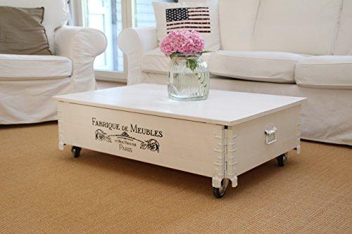 Couchtisch Truhe Holzkiste Beistelltisch Vintage shabby chic Landhaus Massivholz weiß -