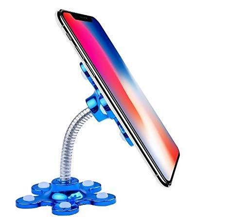 Bigbox99 Mini Flower Shape 360 Degree Rotatable Multi-Angle Phone Metal Magic Suction Cup Mobile Holder Car Mount Sucker Stand Compatible with Universal Smartphones (Multicolour)