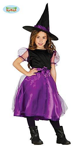 Guirca Lila Kinder Hexe mit Hut Halloween Kostüm für Mädchen Hexenkostüm Gr. 110-146, Größe:122/128
