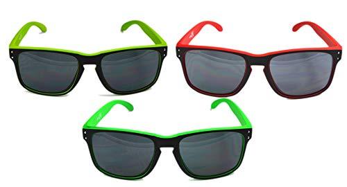 TORGOVE ORIGINAL 3er Pack Wayfarer Sonnenbrille - Retro Vintage - Rot-Grün-Neongrün/Damen/Herren/Unisex